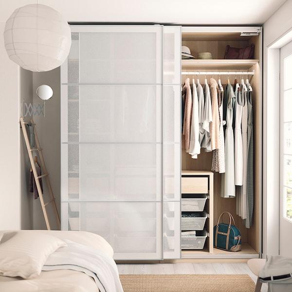PAX 2 wardrobe frames, white stained oak effect, 200x58x236 cm