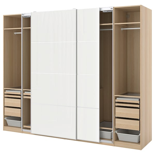 PAX / HOKKSUND Wardrobe combination, white stained oak effect/high-gloss light grey, 300x66x236 cm