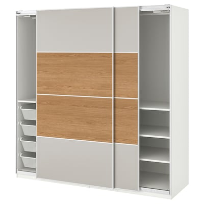 PAX Wardrobe, Mehamn oak effect/light grey, 200x66x201 cm