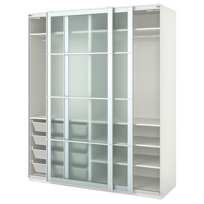 PAX Wardrobe, white/Nykirke frosted glass, check pattern, 200x66x236 cm