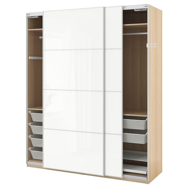 Armadio Ikea Pax Ante Scorrevoli.Pax Wardrobe White Stained Oak Effect Farvik White Glass Ikea