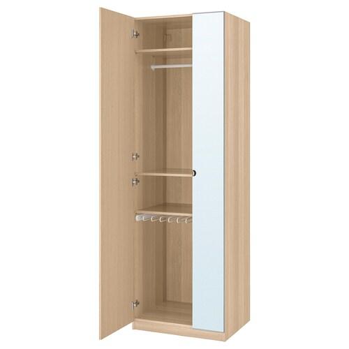 PAX wardrobe white stained oak effect/Forsand Vikedal 75 cm 60 cm 236.4 cm