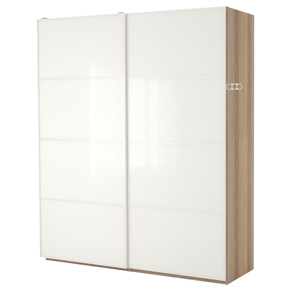 Ikea Armadio Due Ante.Pax Wardrobe White Stained Oak Effect Farvik High Gloss White