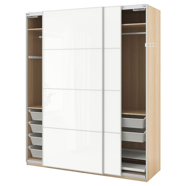 Pax Ikea Ante Scorrevoli.Pax Wardrobe White Stained Oak Effect Farvik High Gloss White