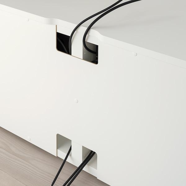 PLATSA TV bench, white/metal, 160x42x54 cm