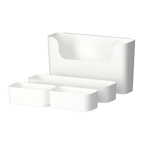 PLUGGIS 7-piece container set with rail IKEA Helps you organise small items like desk accessories, make-up and ponytailers.