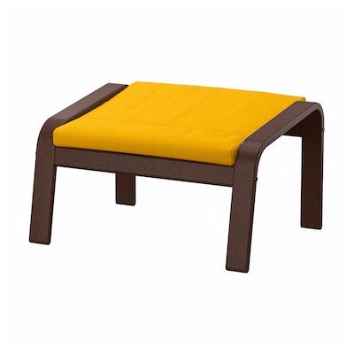POÄNG Footstool, brown/Skiftebo yellow