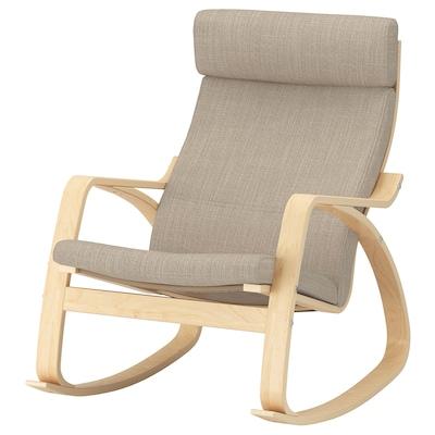 POÄNG Rocking-chair, birch veneer/Hillared beige