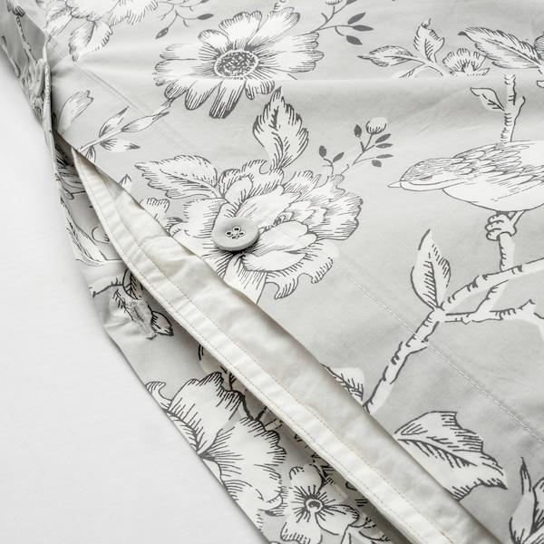PRAKTBRÄCKA Quilt cover and 2 pillowcases, light grey/white, 200x200/50x80 cm