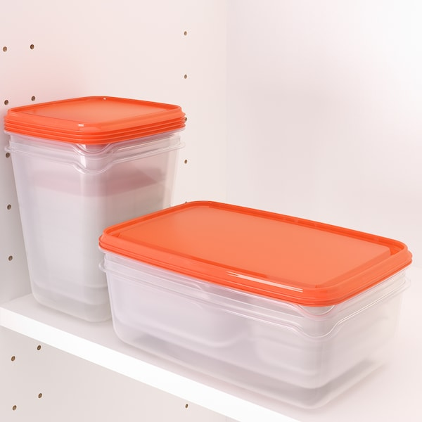 PRUTA Food container, set of 17, transparent/orange