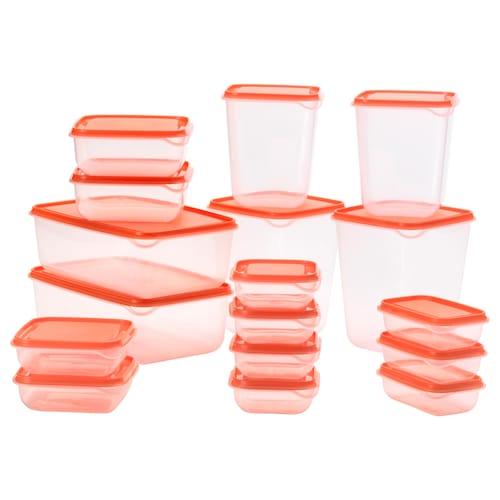 PRUTA food container, set of 17 transparent/orange