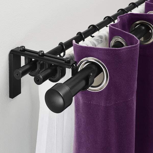 RÄCKA / HUGAD triple curtain rod combination black 210 cm 385 cm