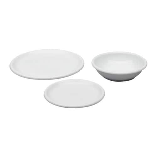 RONDO 18-piece service IKEA The side plate can also be used as a lid for the deep plate.