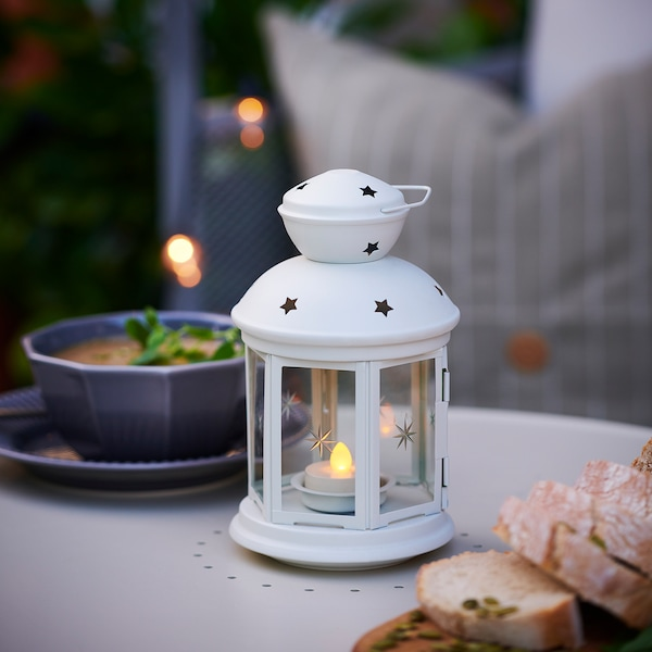 ROTERA Lantern for tealight, in/outdoor white, 21 cm