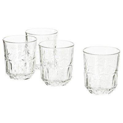 SÄLLSKAPLIG Glass, clear glass/patterned, 27 cl