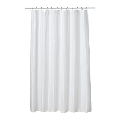 SALTGRUND Shower curtain IKEA Two-sided woven polyester which gives a soft fall and a decorative pattern on both sides.