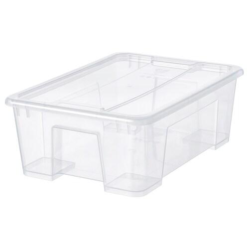 SAMLA box with lid transparent 39 cm 28 cm 14 cm 11 l
