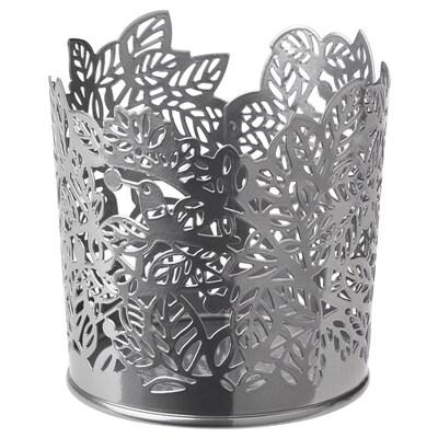SAMVERKA Tealight holder, silver-colour, 8 cm