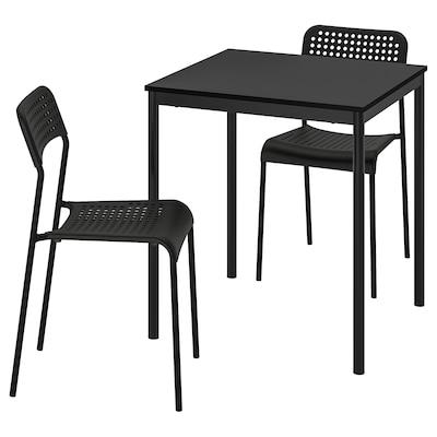 SANDSBERG / ADDE Table and 2 chairs, black/black, 67x67 cm