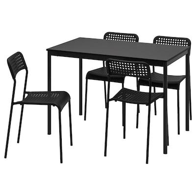 SANDSBERG / ADDE Table and 4 chairs, black/black, 110x67 cm