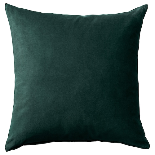 SANELA cushion cover dark green 50 cm 50 cm