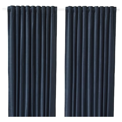 SANELA Room darkening curtains, 1 pair, dark blue, 140x250 cm