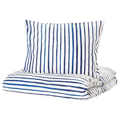 SÅNGLÄRKA Quilt cover and pillowcase, striped/blue white, 150x200/50x80 cm