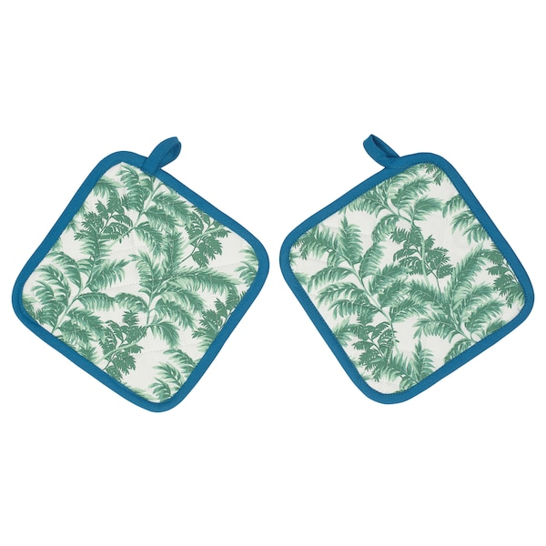 SILVERPOPPEL pot holder patterned/green blue 23 cm 23 cm 2 pieces