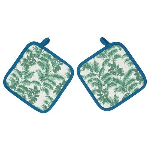 SILVERPOPPEL pot holder patterned/green blue 23 cm 23 cm 2 pieces