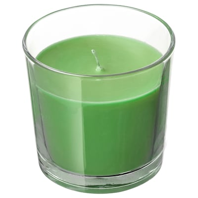 SINNLIG Scented candle in glass, Apple and pear/green, 7.5 cm