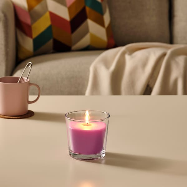 SINNLIG Scented candle in glass, Cherries/bright pink, 9 cm