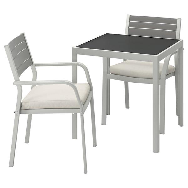 SJÄLLAND table+2 chairs w armrests, outdoor glass/Frösön/Duvholmen beige 71 cm 71 cm 73 cm