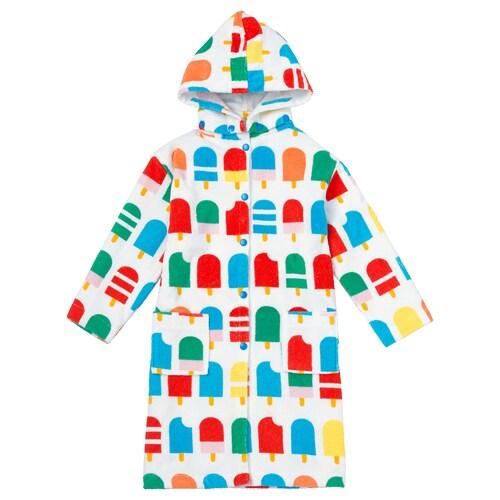 SJÖLEJON bath robe ice lolly stick patterned 128 cm 380 g/m²