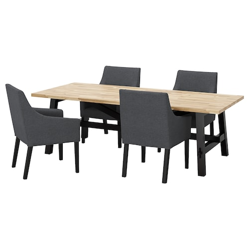 SKOGSTA / SAKARIAS table and 4 chairs acacia black/Sporda dark grey 235 cm 100 cm