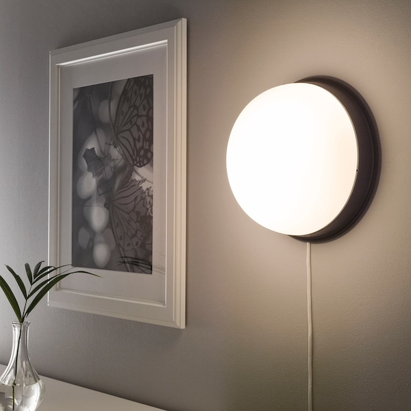 SKURUP Ceiling/wall lamp, black, 25 cm