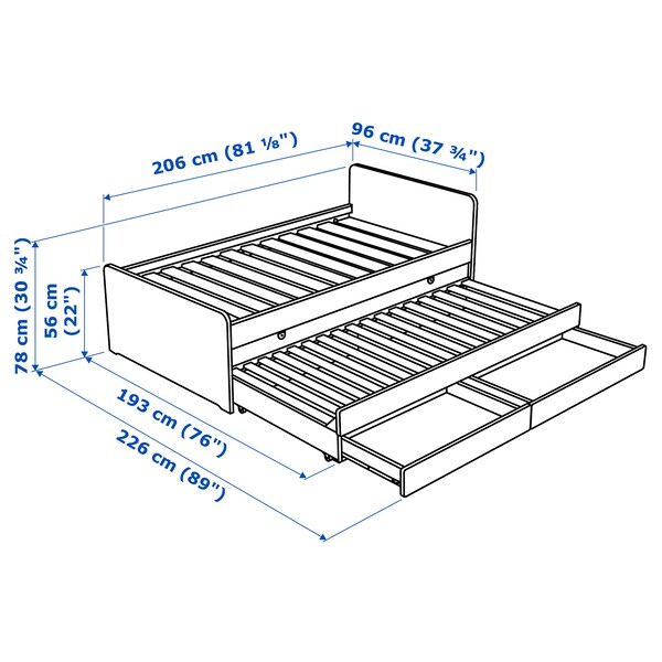 SLÄKT bed frame with underbed and storage white 100 kg 207 cm 98 cm 91 cm 57 cm 58 cm 80 cm 193 cm 207 cm 200 cm 90 cm