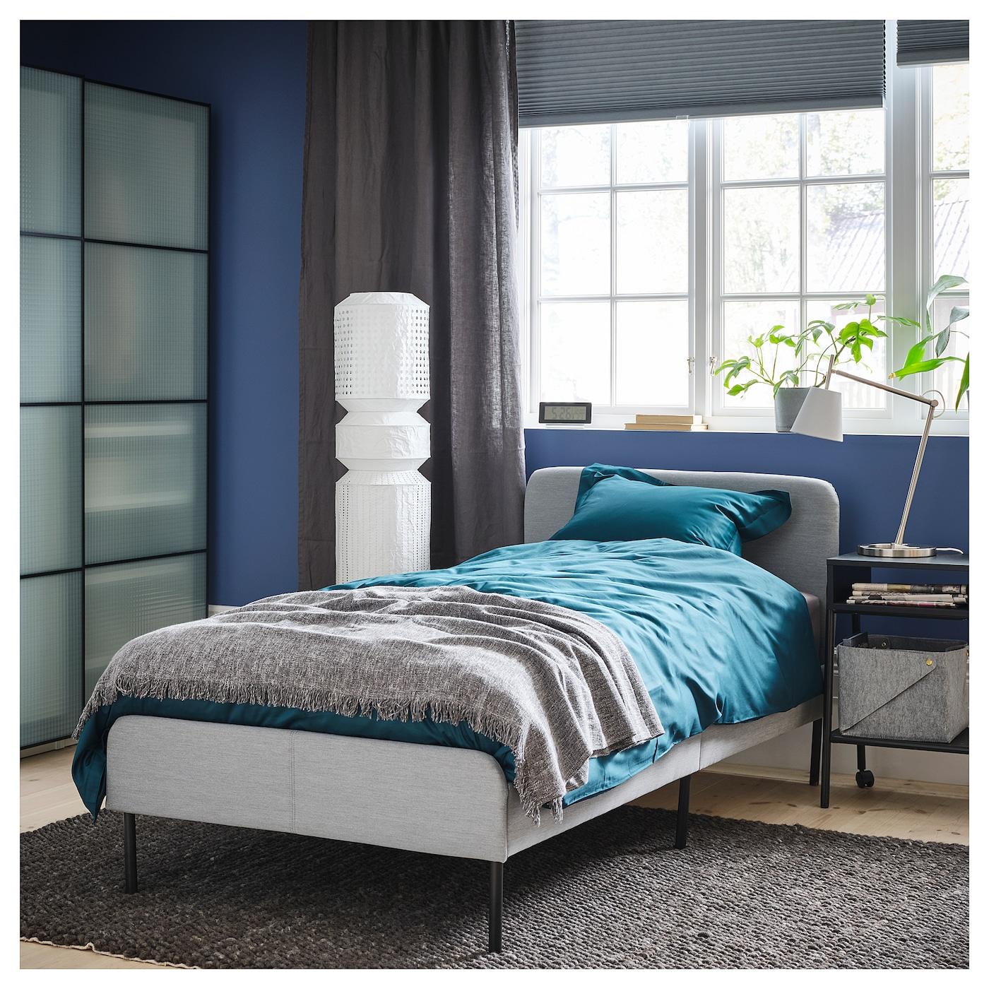 Slattum Upholstered Bed Frame Knisa Light Grey 90x200 Cm Ikea