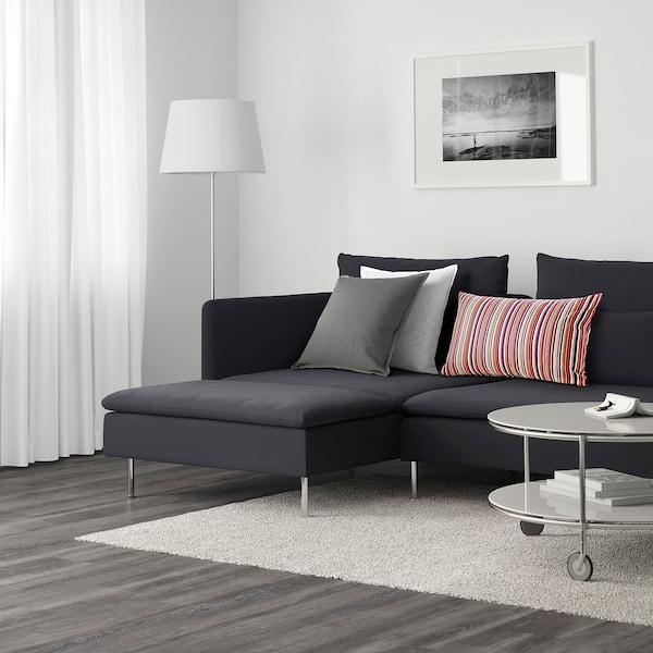 SÖDERHAMN 4-seat sofa with chaise longue - Samsta dark ...