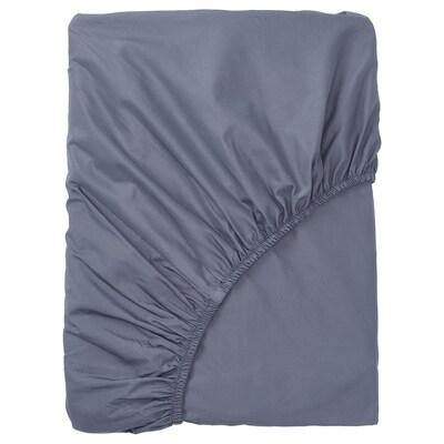 SÖMNTUTA Fitted sheet, blue-grey, 180x200 cm
