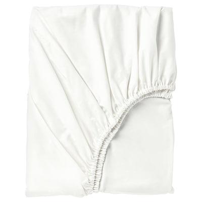 SÖMNTUTA Fitted sheet, white, 180x200 cm