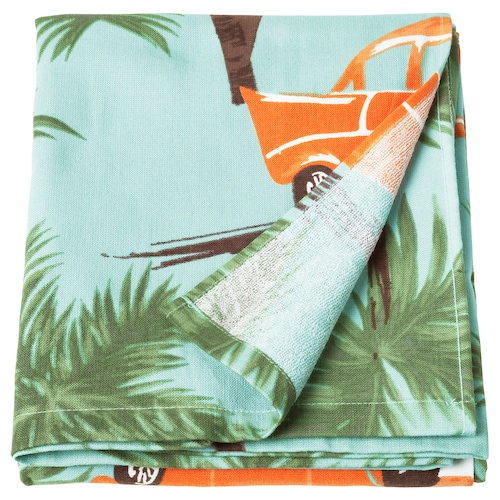 SOLBLEKT beach towel palm/car pattern blue 180 cm 100 cm
