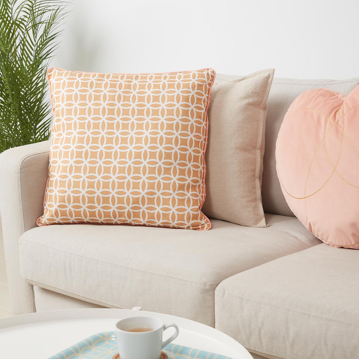 SOLGLIMTAR Cushion, brown/white, 50x50 cm
