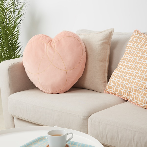 SOLGLIMTAR Cushion, heart/pink