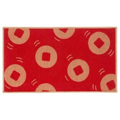 SOLGLIMTAR Door mat, red/gold-colour, 40x70 cm