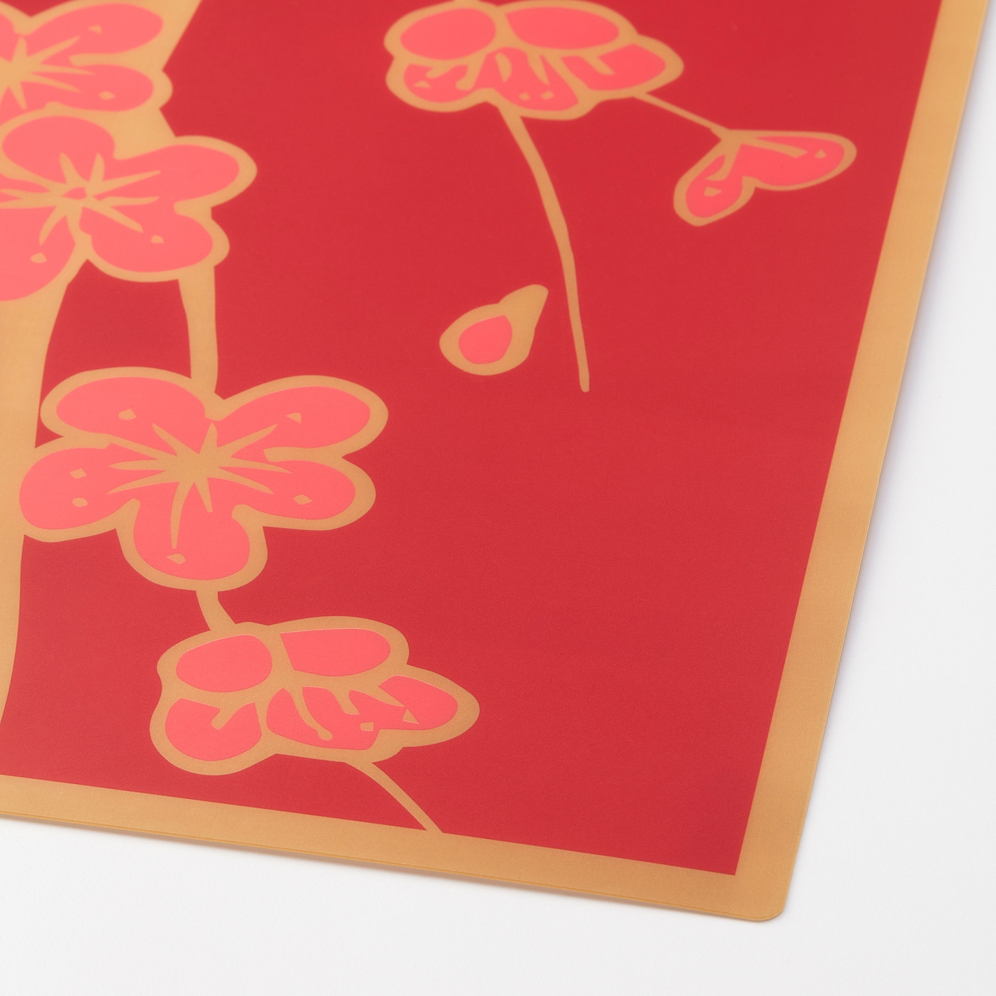 SOLGLIMTAR Place mat, red/gold-colour flower, 45x35 cm
