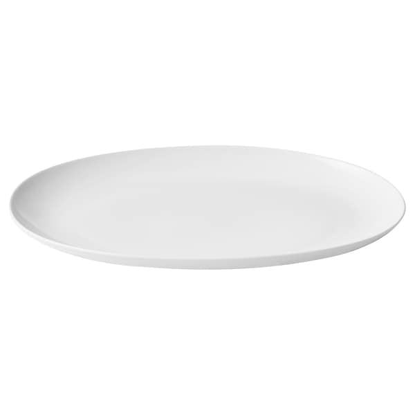 SOLGLIMTAR Serving plate, oval/white
