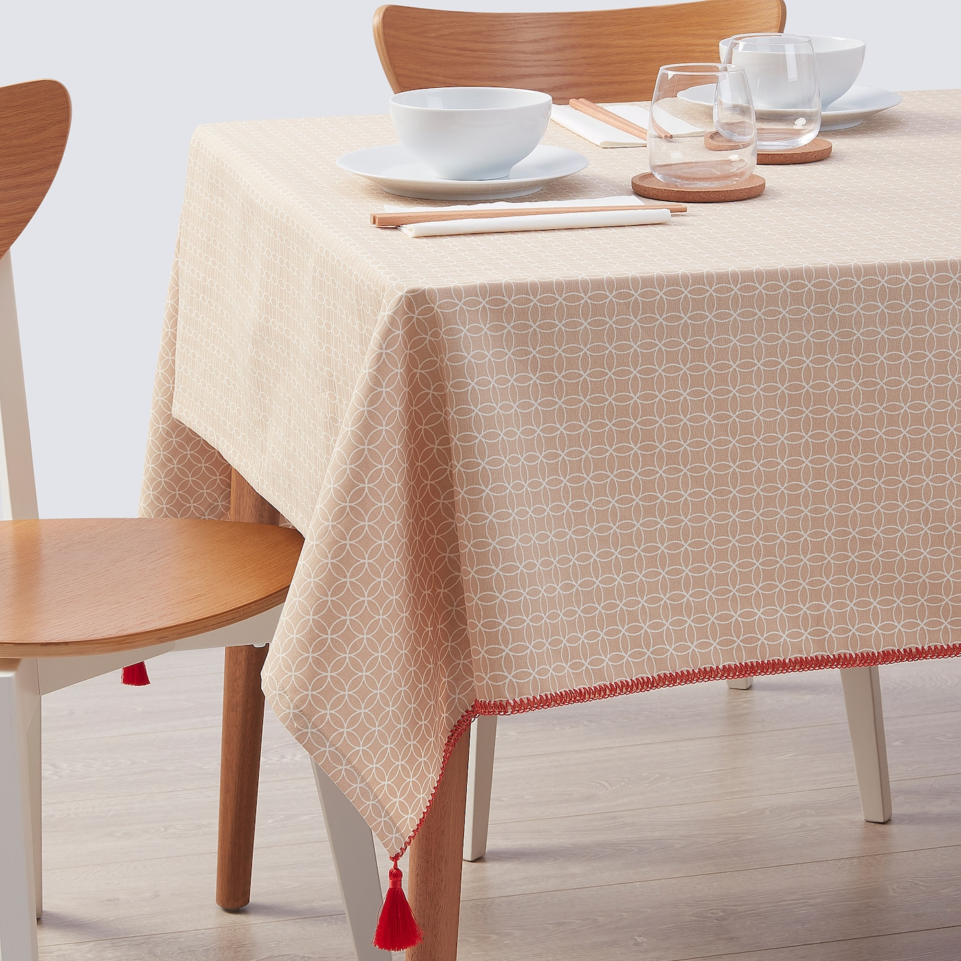 SOLGLIMTAR Tablecloth, brown/white, 145x220 cm