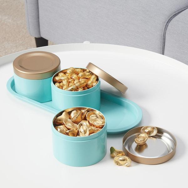 SOLGLIMTAR Tin, set of 3, gold-colour/turquoise