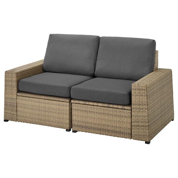 SOLLERÖN 2-seat modular sofa, outdoor, brown/Frösön/Duvholmen dark grey, 161x82x88 cm