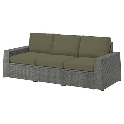 SOLLERÖN 3-seat modular sofa, outdoor, dark grey/Frösön/Duvholmen dark beige-green, 223x82x88 cm